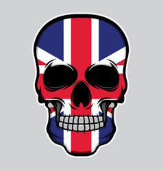 united kingdom flag head skull vector image