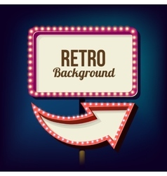 Vintage Night 3D advertising sign vector image
