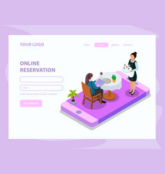Waiter isometric web page vector