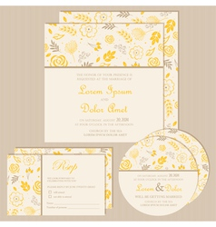 wedding invitation set yellow vector image