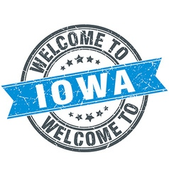 Welcome to Iowa blue round vintage stamp vector