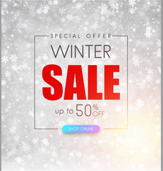 Winter up to 50 off sale promotion background vector