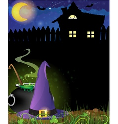 Witch hat and boiling cauldron near the house with vector image