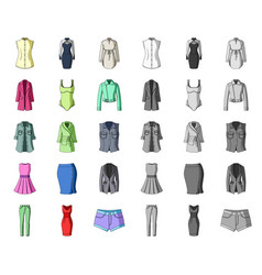 Women clothing cartoonmono icons in set vector