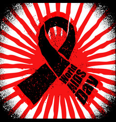 World aids day in grunge style emblem red ribbon vector