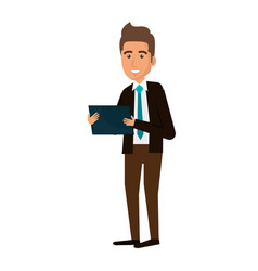 Young man with tablet avatar character vector