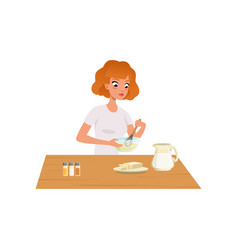 young woman kneading dough girl preparing healthy vector image