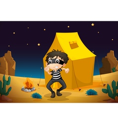 a tent house and a boy vector image