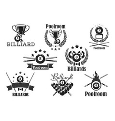 billiards contest icons or emblems set vector image vector image