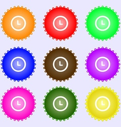 clock icon sign A set of nine different colored vector image