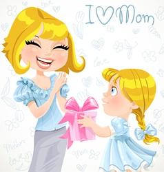 Daughter gives mom a gift for Mothers Day vector image