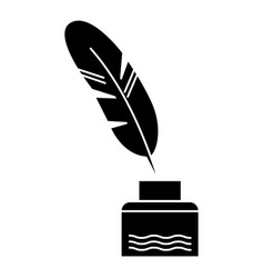 feather with writing ink - literature icon vector image vector image