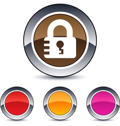 lock round button vector image