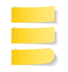Yellow paper notes with clips vector