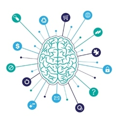 Brain background with icons vector image