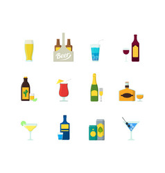 cartoon alcoholic beverages color icons set vector image