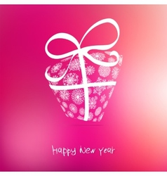 Christmas gift box from snowflakes on pink EPS8 vector image vector image