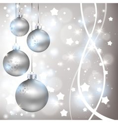 Christmas shiny silver background with balls vector image vector image