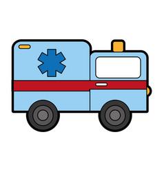 Cute ambulance car cartoon vector