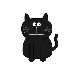 Cute contour cat Flat design White background vector image vector image