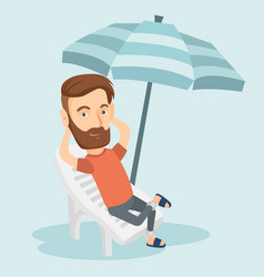 Man relaxing on beach chair vector