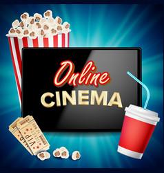 online cinema banner realistic tablet vector image