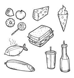 Set of doodle food elements vector image