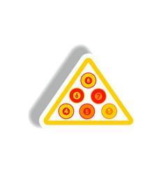 Stylish icon in paper sticker style billiard balls vector