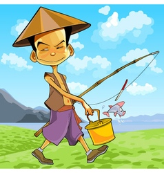 cartoon man in a Vietnamese hat walks vector image