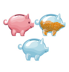 colorful set money piggy bank with coins and empty vector image