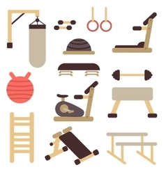 Flat fitness sport gym exercise equipment vector image