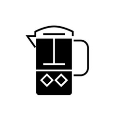 french press icon black sign vector image