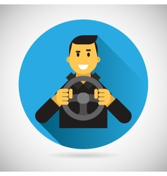 Happy Smiling Driver Character with Car Wheel Icon vector image vector image