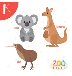 Letter K Cute animals Funny cartoon animals in vector image vector image