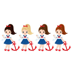 Nautical little girls with anchors vector