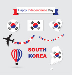 south korea flag and map icons set vector image vector image