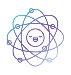 atom cartoon kawaii in color gradient silhouette vector image vector image