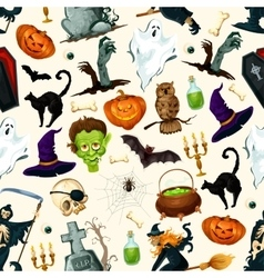 Halloween holiday cartoon horror seamless pattern vector image