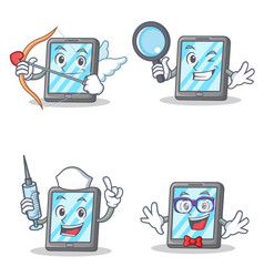 set of tablet character with cupid detective nurse vector image