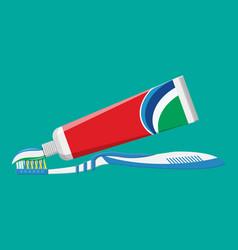 toothbrush toothpaste brushing teeth vector image