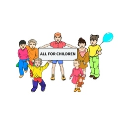 Young children with a poster for all children vector image vector image
