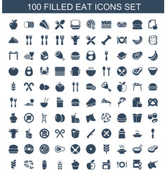 100 eat icons vector