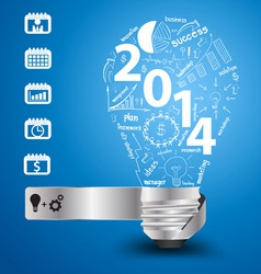 2014 new year with light bulb idea vector