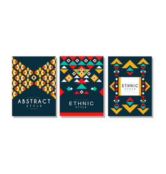abstract cards with geometric ethnic pattern set vector image