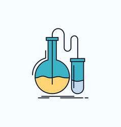 analysis chemistry flask research test flat icon vector image