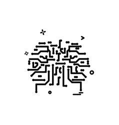 artificial circuit ic intelligence icon design vector image