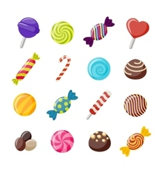 Assorted Candies Decorative Flat Icons Set vector