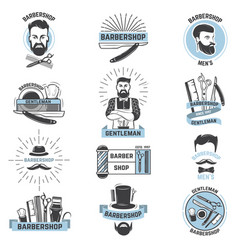 Barbershop logo barber cuts male haircut vector