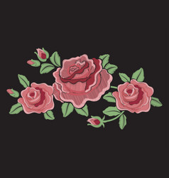 beautiful amazing fashion embroidered roses vector image
