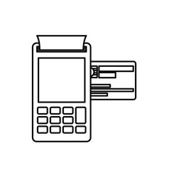 Black silhouette of payment terminal with credit vector